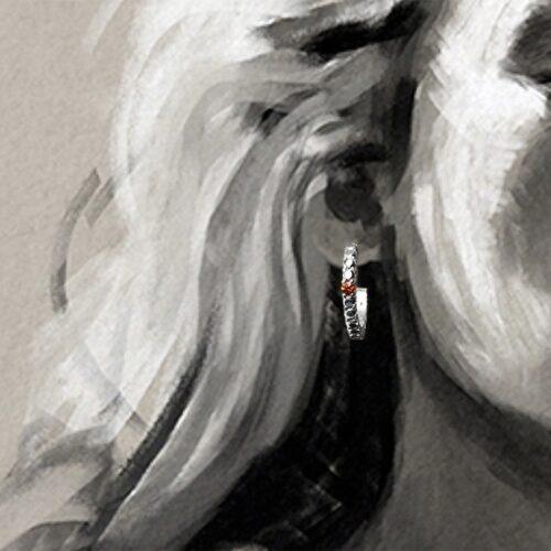 collection femme boucles d'oreilles argent créole système alpa saphir orange