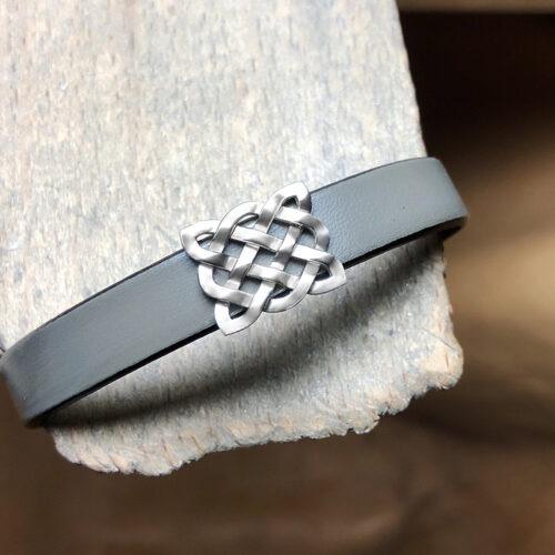 collection homme bracelet argent cuir gris fermoir argent
