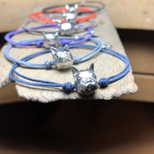 collection femme bracelet argent saphirs tête de bouledogue cordon coton réglable noeuds coulissant multicolore