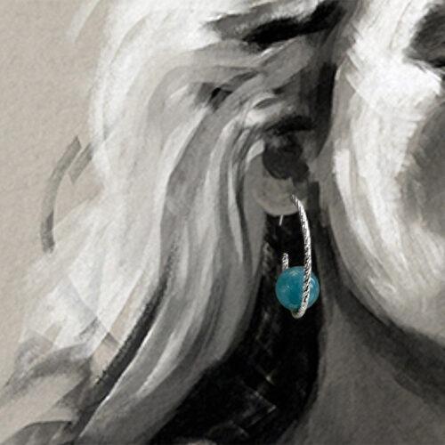 collection femme boucles d'oreilles argent rhodié créole fil diamanté perle d'agate bleue teintéehop