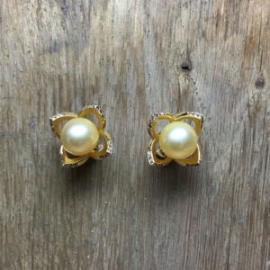 collection femme boucles d'oreilles or jaune 18ct diamants bruns perles des mers du sud pétales sur mesure