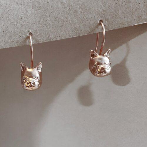 collection femme boucles d'oreilles vermeil diamant brun dormeuses