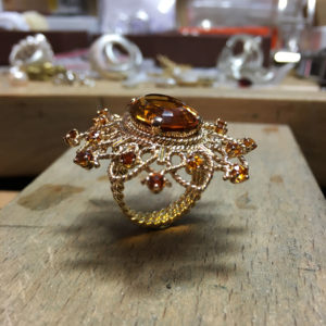 collection sur mesure bague or jaune citrines transformation broche sur mesure