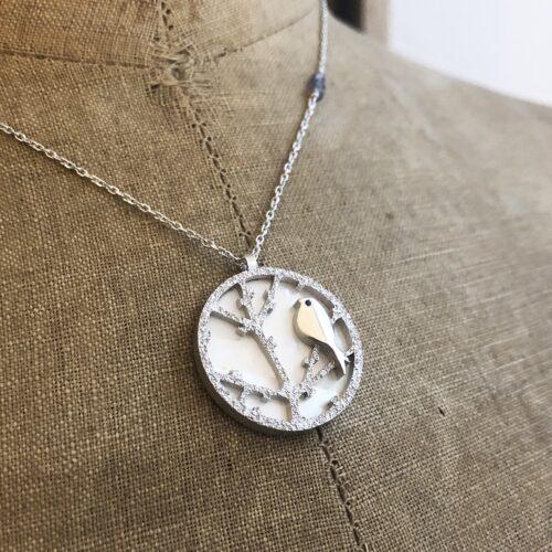 collection femme collier argent rhodié oiseau saphir rosbleue nacre blanche branche