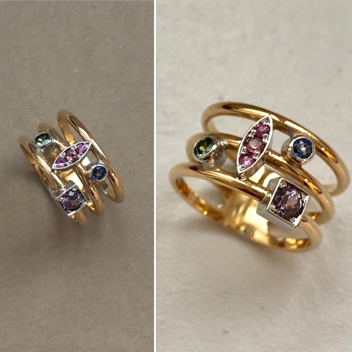 collection femme bague or jaune 18ct or gris 18ct forme géométriques saphirs tourmaline spinelle violet création sur mesure pièce unique