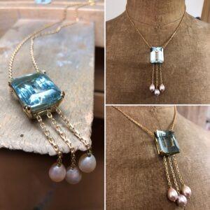 collection femme collier transformation pampilles chaine or jaune aigue marine taille émeraude perles d'eau douce en forme de poire