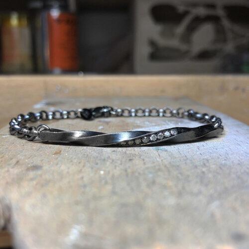 collection homme bracelet argent noir établi diamants gris torsade chaine jaseron 4mm