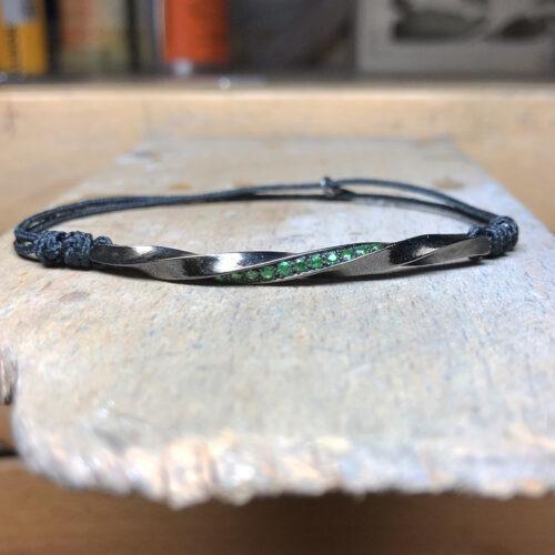 collection homme bracelet argent noir grenats tzavorite torsade chaine jaseron argent noir 4mm