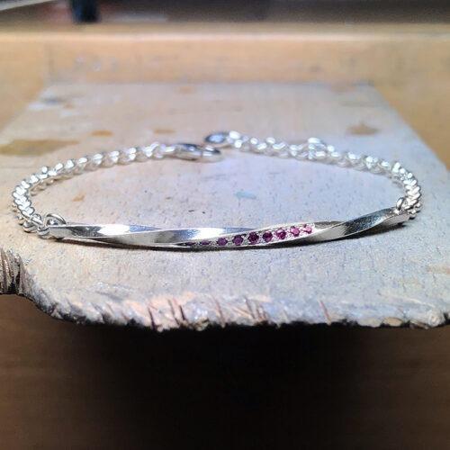 collection femme bracelet argent établi saphirs roses torsade chaine jaseron