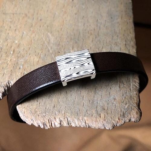 collection homme bracelet argent cuir fermoir argent