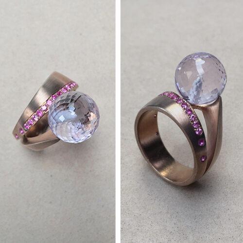 collection femme bague vermeil saphirs rose perle de quartz rose photo archi