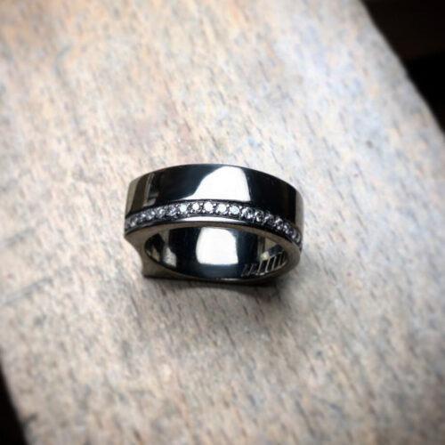 collection homme bague argent noir diamants gris