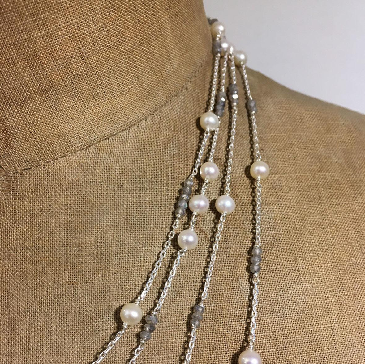 collection femme gros plan sautoir argent perles akoya perles labradorite sur mesure