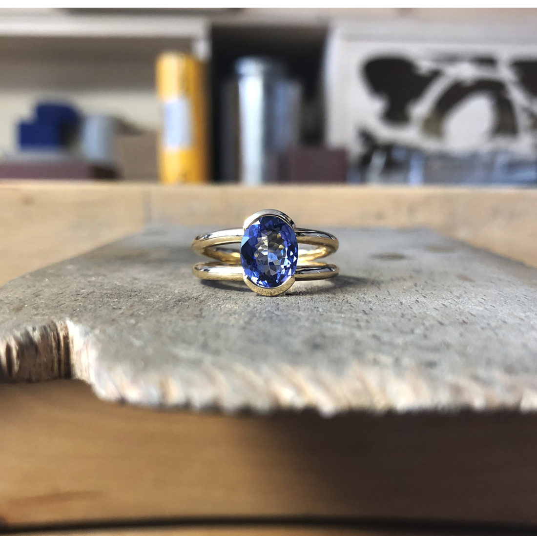 collection ephemere bague or jaune 18ct tanzanite piece unique