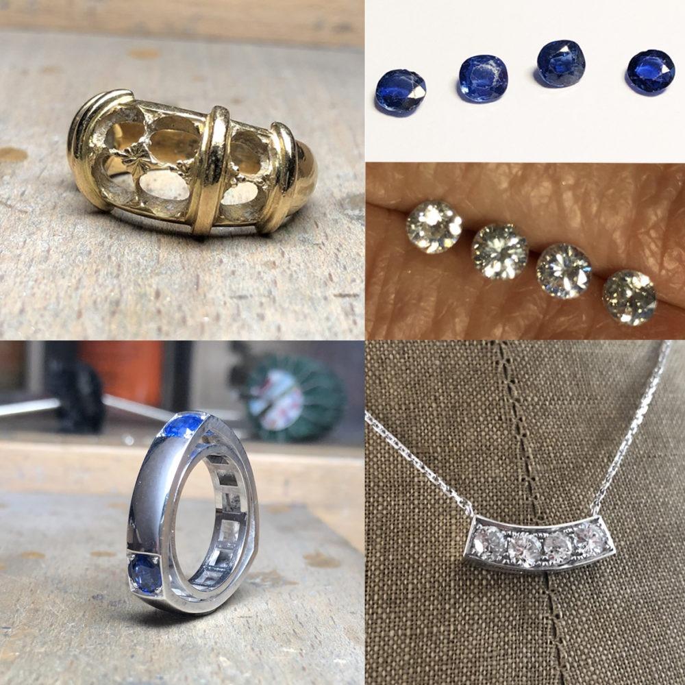 creation sur mesure bague et pendentif avec saphirs et diamants appartenant à la cliente