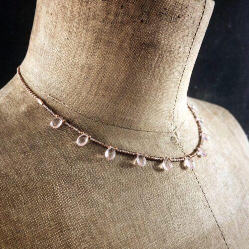 collection femme collier perles diamantees vermeil briolettes de quarz rose