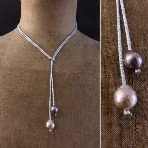 collection femme collier perles d'eau douce baroque perle argent fil de soie gris vert brodé de fil d'argent