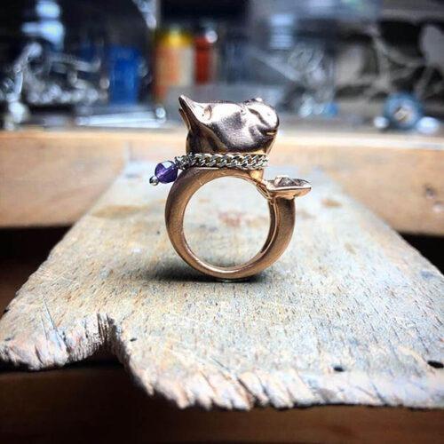 bague bouledogue XL en vermeil rose, diamants bruns et améthyste