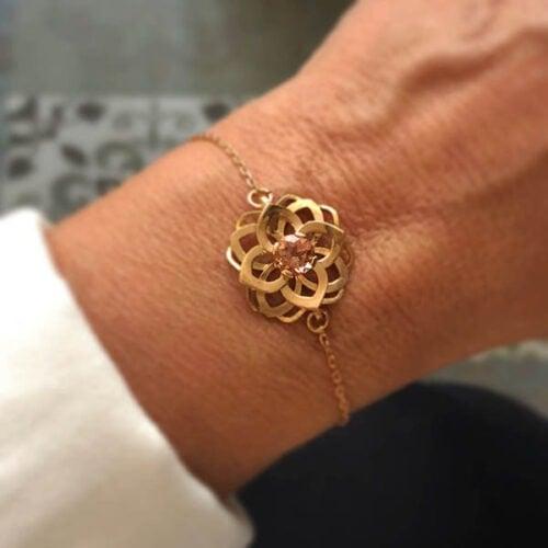bracelet art deco en or rose tourmaline champagne sur chaine forcat fleur collection femme