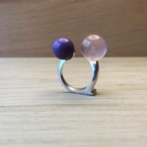 collection femme bague swan argent perle quartz rose et Héterosite