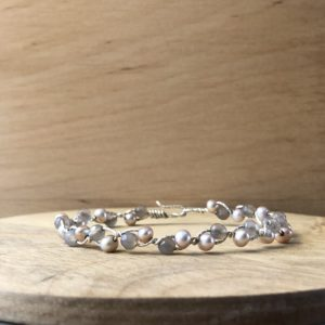 collection femme bracelet argent agate grise tresse perles