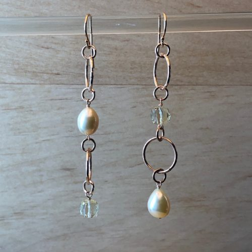 boucles anneaux argent vermeil rose femme collection ephemere perles d'eau douce dorée, cube quartz vert