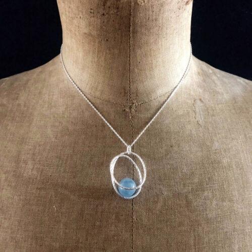 collier hop collection femme pendentif argent perle aigue marine