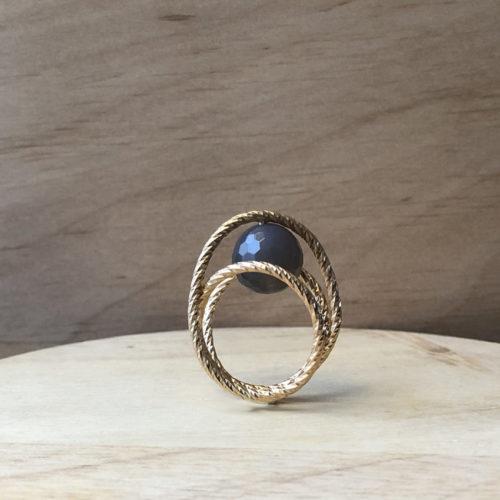 bague hop collection femme vermeil fil diamanté perle agate grise