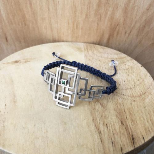 bracelet labyrinthe argent cordon collection femme les ligne grenat tsavorite
