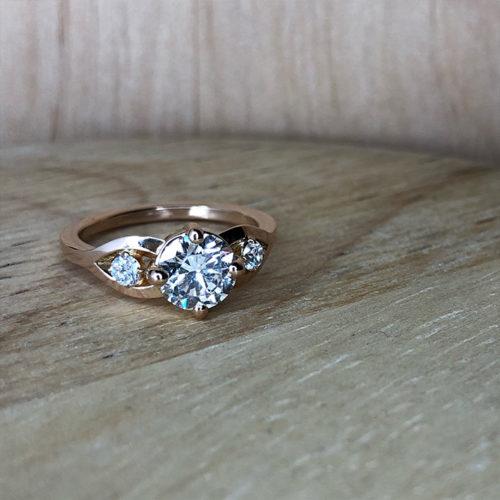 bague fiançailles or rose diamant cliente collection sur mesure brillants