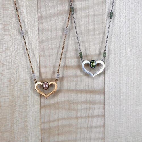 collier coeur vermeil quartz rose et argent peridot collection femme collection pierres
