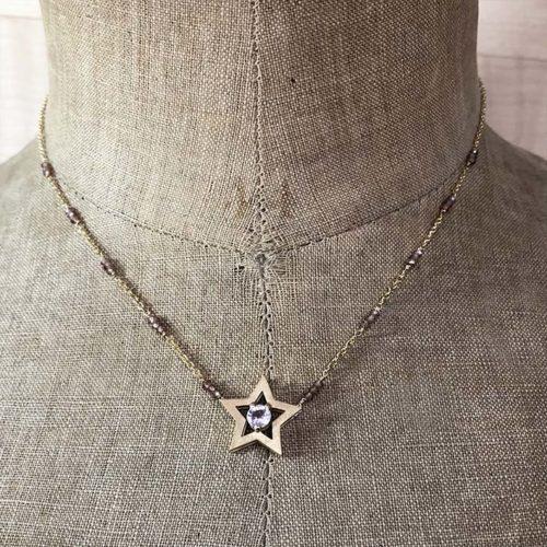 collection femme collier star or jaune saphir parme zircon