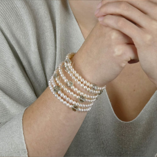 Bracelet twist porte perles blanches quartz vert collection les perles
